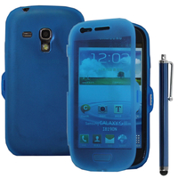 Samsung Galaxy S3 mini i8190/ i8200 VE: Accessoire Coque Etui Housse Pochette silicone gel Portefeuille Livre rabat + Stylet - BLEU
