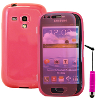 Samsung Galaxy S3 mini i8190/ i8200 VE: Accessoire Coque Etui Housse Pochette silicone gel Portefeuille Livre rabat + mini Stylet - ROSE