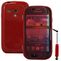 Samsung Galaxy S3 mini i8190/ i8200 VE: Accessoire Coque Etui Housse Pochette silicone gel Portefeuille Livre rabat + mini Stylet - ROUGE