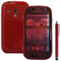 Samsung Galaxy S3 mini i8190/ i8200 VE: Accessoire Coque Etui Housse Pochette silicone gel Portefeuille Livre rabat + Stylet - ROUGE