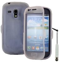 Samsung Galaxy S3 mini i8190/ i8200 VE: Accessoire Coque Etui Housse Pochette silicone gel Portefeuille Livre rabat + mini Stylet - TRANSPARENT