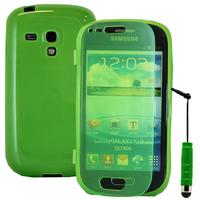 Samsung Galaxy S3 mini i8190/ i8200 VE: Accessoire Coque Etui Housse Pochette silicone gel Portefeuille Livre rabat + mini Stylet - VERT