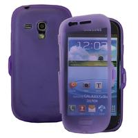 Samsung Galaxy S3 mini i8190/ i8200 VE: Accessoire Coque Etui Housse Pochette silicone gel Portefeuille Livre rabat - VIOLET