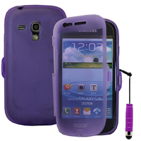 Samsung Galaxy S3 mini i8190/ i8200 VE: Accessoire Coque Etui Housse Pochette silicone gel Portefeuille Livre rabat + mini Stylet - VIOLET