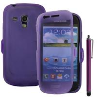 Samsung Galaxy S3 mini i8190/ i8200 VE: Accessoire Coque Etui Housse Pochette silicone gel Portefeuille Livre rabat + Stylet - VIOLET