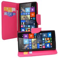 Microsoft Nokia Lumia 535/ 535 Dual SIM: Accessoire Etui portefeuille Livre Housse Coque Pochette support vidéo cuir PU effet tissu - ROSE