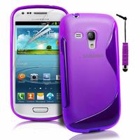 Samsung Galaxy S3 mini i8190/ i8200 VE: Accessoire Housse Etui Pochette Coque S silicone gel + mini Stylet - VIOLET