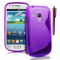 Samsung Galaxy S3 mini i8190/ i8200 VE: Accessoire Housse Etui Pochette Coque S silicone gel + Stylet - VIOLET