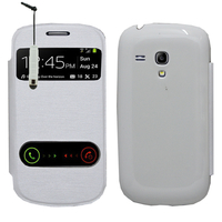 Samsung Galaxy S3 mini i8190/ i8200 VE: Accessoire Coque Etui Housse Pochette Plastique View Case + mini Stylet - BLANC