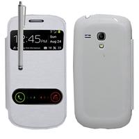 Samsung Galaxy S3 mini i8190/ i8200 VE: Accessoire Coque Etui Housse Pochette Plastique View Case + Stylet - BLANC