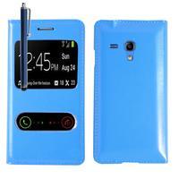 Samsung Galaxy S3 mini i8190/ i8200 VE: Accessoire Coque Etui Housse Pochette Plastique View Case + Stylet - BLEU