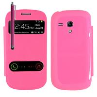 Samsung Galaxy S3 mini i8190/ i8200 VE: Accessoire Coque Etui Housse Pochette Plastique View Case + Stylet - ROSE