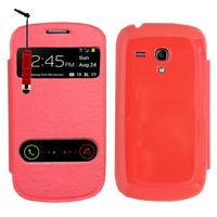 Samsung Galaxy S3 mini i8190/ i8200 VE: Accessoire Coque Etui Housse Pochette Plastique View Case + mini Stylet - ROUGE