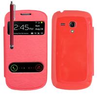 Samsung Galaxy S3 mini i8190/ i8200 VE: Accessoire Coque Etui Housse Pochette Plastique View Case + Stylet - ROUGE