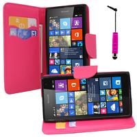 Microsoft Nokia Lumia 535/ 535 Dual SIM: Accessoire Etui portefeuille Livre Housse Coque Pochette support vidéo cuir PU effet tissu + mini Stylet - ROSE