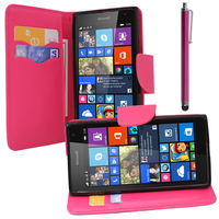 Microsoft Nokia Lumia 535/ 535 Dual SIM: Accessoire Etui portefeuille Livre Housse Coque Pochette support vidéo cuir PU effet tissu + Stylet - ROSE