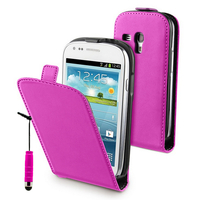Samsung Galaxy S3 mini i8190/ i8200 VE: Accessoire Housse coque etui cuir fine slim + mini Stylet - ROSE