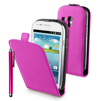 Samsung Galaxy S3 mini i8190/ i8200 VE: Accessoire Housse coque etui cuir fine slim + Stylet - ROSE