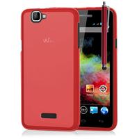Wiko Rainbow 4G: Accessoire Housse Etui Pochette Coque silicone gel + Stylet - ROUGE