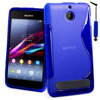 Sony Xperia E1 D2004 D2005/ E1 Dual D2104 D2114 D2105: Accessoire Housse Etui Pochette Coque S silicone gel + mini Stylet - BLEU