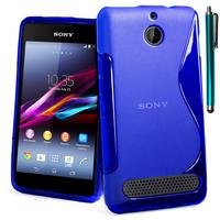 Sony Xperia E1 D2004 D2005/ E1 Dual D2104 D2114 D2105: Accessoire Housse Etui Pochette Coque S silicone gel + Stylet - BLEU