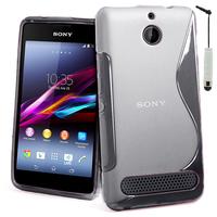 Sony Xperia E1 D2004 D2005/ E1 Dual D2104 D2114 D2105: Accessoire Housse Etui Pochette Coque S silicone gel + mini Stylet - TRANSPARENT