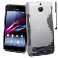 Sony Xperia E1 D2004 D2005/ E1 Dual D2104 D2114 D2105: Accessoire Housse Etui Pochette Coque S silicone gel + Stylet - TRANSPARENT