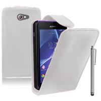Sony Xperia M2/ M2 Dual D2303 D2305 D2306: Accessoire Etui Housse Coque Pochette simili cuir + Stylet - BLANC