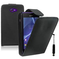 Sony Xperia M2/ M2 Dual D2303 D2305 D2306: Accessoire Etui Housse Coque Pochette simili cuir + mini Stylet - NOIR