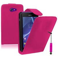 Sony Xperia M2/ M2 Dual D2303 D2305 D2306: Accessoire Etui Housse Coque Pochette simili cuir + mini Stylet - ROSE