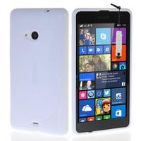 Microsoft Nokia Lumia 535/ 535 Dual SIM: Accessoire Housse Etui Pochette Coque S silicone gel + mini Stylet - BLANC
