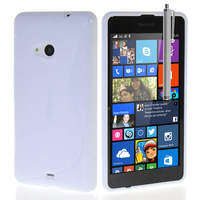 Microsoft Nokia Lumia 535/ 535 Dual SIM: Accessoire Housse Etui Pochette Coque S silicone gel + Stylet - BLANC