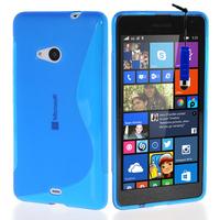 Microsoft Nokia Lumia 535/ 535 Dual SIM: Accessoire Housse Etui Pochette Coque S silicone gel + mini Stylet - BLEU