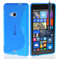 Microsoft Nokia Lumia 535/ 535 Dual SIM: Accessoire Housse Etui Pochette Coque S silicone gel + Stylet - BLEU