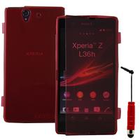 Sony Xperia Z L36h C6602 C6603: Accessoire Coque Etui Housse Pochette silicone gel Portefeuille Livre rabat + mini Stylet - ROUGE