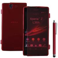 Sony Xperia Z L36h C6602 C6603: Accessoire Coque Etui Housse Pochette silicone gel Portefeuille Livre rabat + Stylet - ROUGE