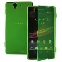 Sony Xperia Z L36h C6602 C6603: Accessoire Coque Etui Housse Pochette silicone gel Portefeuille Livre rabat - VERT