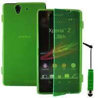 Sony Xperia Z L36h C6602 C6603: Accessoire Coque Etui Housse Pochette silicone gel Portefeuille Livre rabat + mini Stylet - VERT