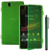 Sony Xperia Z L36h C6602 C6603: Accessoire Coque Etui Housse Pochette silicone gel Portefeuille Livre rabat + Stylet - VERT