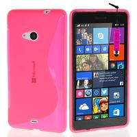Microsoft Nokia Lumia 535/ 535 Dual SIM: Accessoire Housse Etui Pochette Coque S silicone gel + mini Stylet - ROSE