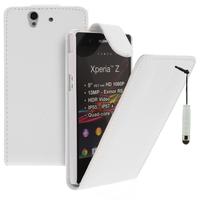 Sony Xperia Z L36h C6602 C6603: Accessoire Etui Housse Coque Pochette simili cuir + mini Stylet - BLANC