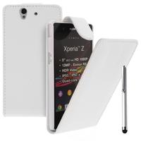 Sony Xperia Z L36h C6602 C6603: Accessoire Etui Housse Coque Pochette simili cuir + Stylet - BLANC