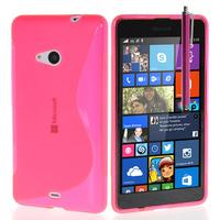 Microsoft Nokia Lumia 535/ 535 Dual SIM: Accessoire Housse Etui Pochette Coque S silicone gel + Stylet - ROSE