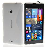 Microsoft Nokia Lumia 535/ 535 Dual SIM: Accessoire Housse Etui Pochette Coque S silicone gel + mini Stylet - TRANSPARENT