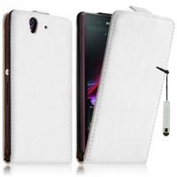 Sony Xperia Z L36h C6602 C6603: Accessoire Housse coque etui cuir fine slim + mini Stylet - BLANC
