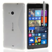 Microsoft Nokia Lumia 535/ 535 Dual SIM: Accessoire Housse Etui Pochette Coque S silicone gel + Stylet - TRANSPARENT