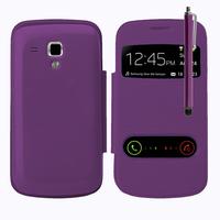 Samsung Galaxy Trend S7560/ Galaxy S Duos S7562: Accessoire Coque Etui Housse Pochette Plastique View Case + Stylet - VIOLET