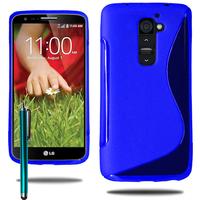 LG G2 Mini LTE Dual Sim D618 D620 D620R D620K: Accessoire Housse Etui Pochette Coque S silicone gel + Stylet - BLEU