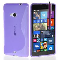Microsoft Nokia Lumia 535/ 535 Dual SIM: Accessoire Housse Etui Pochette Coque S silicone gel + Stylet - VIOLET