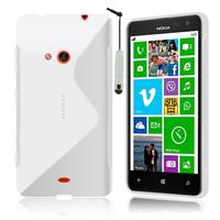 Nokia Lumia 625: Accessoire Housse Etui Pochette Coque S silicone gel + mini Stylet - BLANC